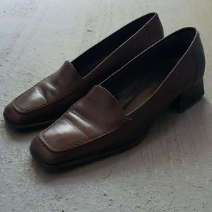Brown Bally Leather Loafers - 10M